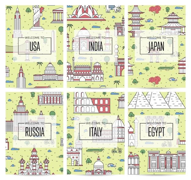 Carteles de viaje en todo el mundo en estilo lineal