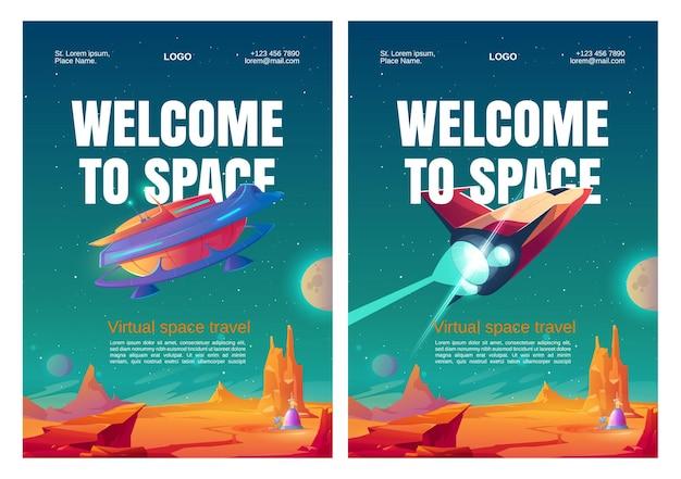 Carteles de viajes espaciales virtuales con naves espaciales.