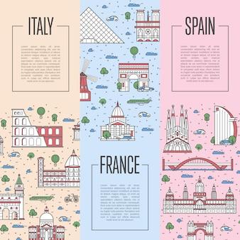 Carteles de viajes europeos en estilo lineal