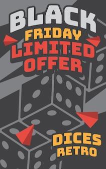 Carteles de viernes negro ilustración retro vintage