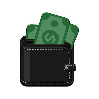 Cartera cosida de cuero negro con dinero en efectivo. ilustración del icono aislado sobre fondo blanco.