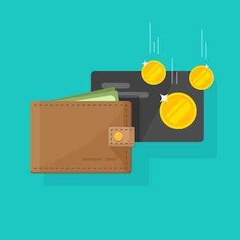 Cartera de cuero con dinero e ingresos en efectivo de tarjetas de crédito