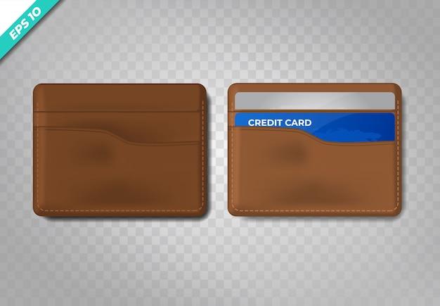 Cartera de cuero realista con tarjeta de crédito azul.