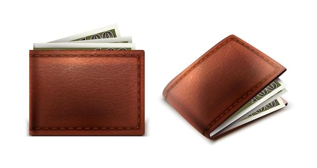 Cartera de cuero de vector con dinero en efectivo en el interior en la vista lateral y frontal