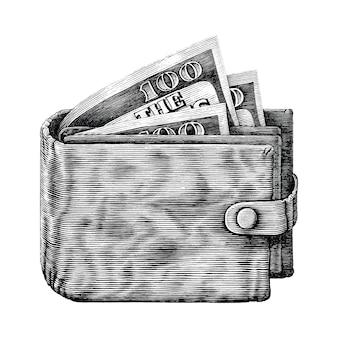 Cartera con dinero completo a mano dibujar vintage grabado isoleted sobre fondo blanco.