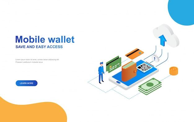 Cartera electrónica, plantilla de web de página de aterrizaje isométrica de banca móvil