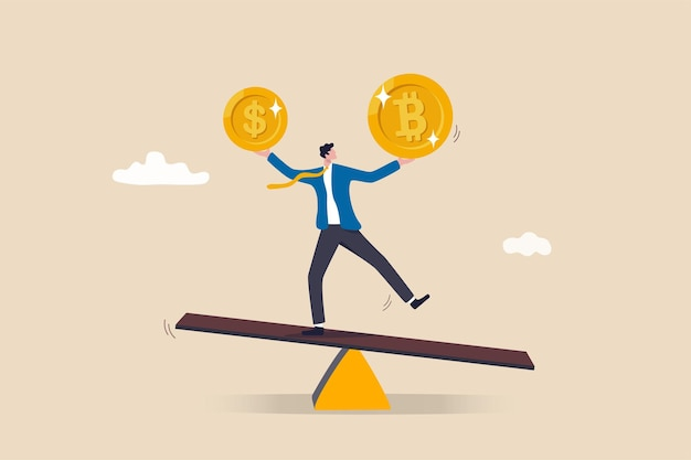 Cartera de inversiones con bitcoin o moneda criptográfica, compra o venta de comercio, concepto de valor de cambio de mercado de criptomonedas, inversor empresario o cartera de saldo de comerciante con moneda de dólar y bitcoin.