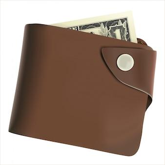 Cartera monedero marrón con dinero aislado