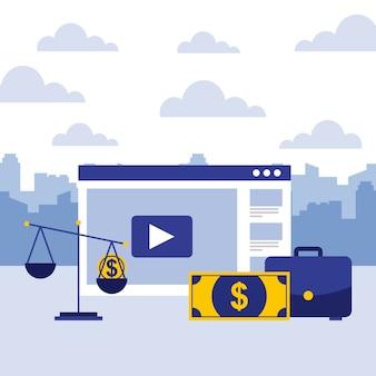 Cartera de negocios, escala, billete de banco, y sitio web