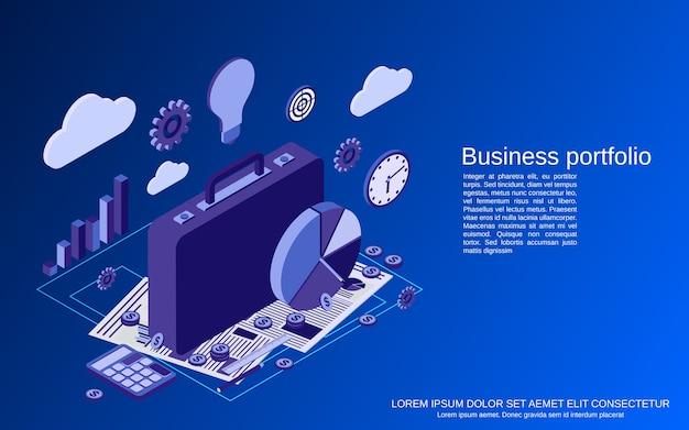 Cartera de negocios, estadísticas financieras, análisis ilustración de concepto isométrico plano
