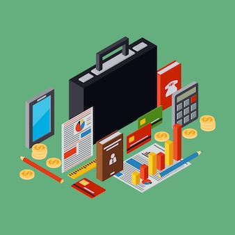 Cartera de negocios, informe plano 3d isométrico vector concepto ilustración