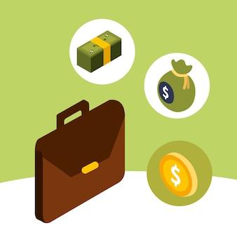 Cartera de negocios, moneda, moneda, y, bolsa, dinero, isométrica
