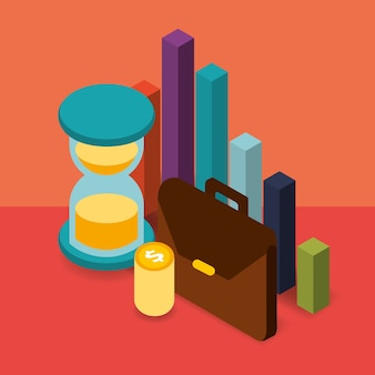 Cartera de negocios reloj de arena monedas gráfico dinero isométrico