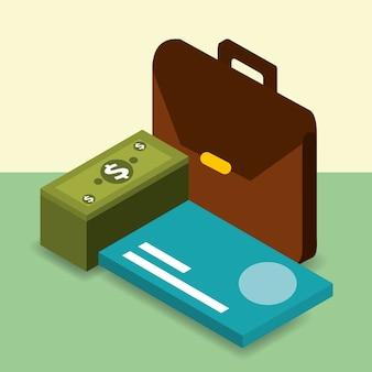 Cartera de negocios tarjeta bancaria y billetes de banco dinero isométrica