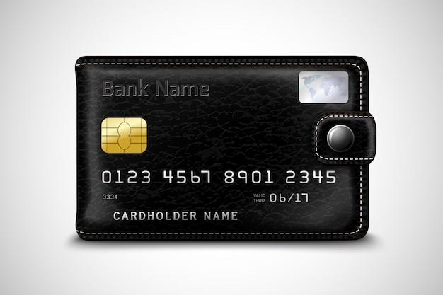 Cartera negra concepto de tarjeta de crédito bancaria