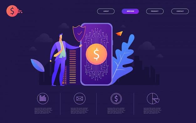 Cartera de transferencia de bitcoin la mano sostiene un teléfono inteligente con bitcoins de envío, tecnología de criptomoneda de ilustración plana,