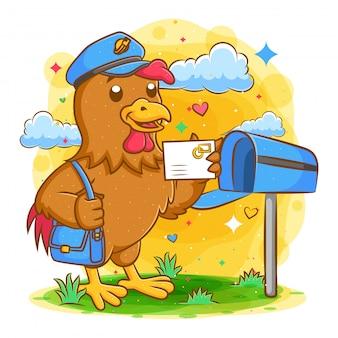 Cartero de gallo con correo y bolsa