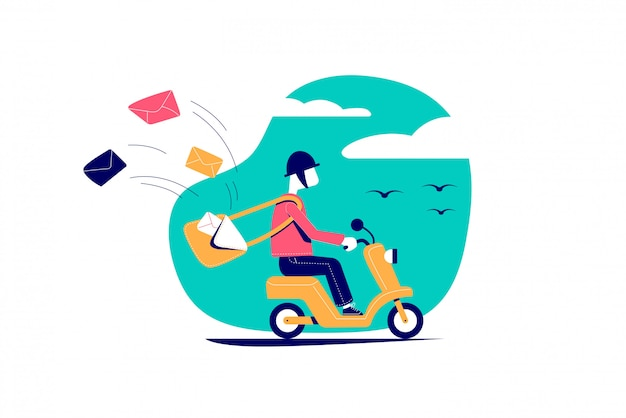 Cartero, mensajero en un scooter