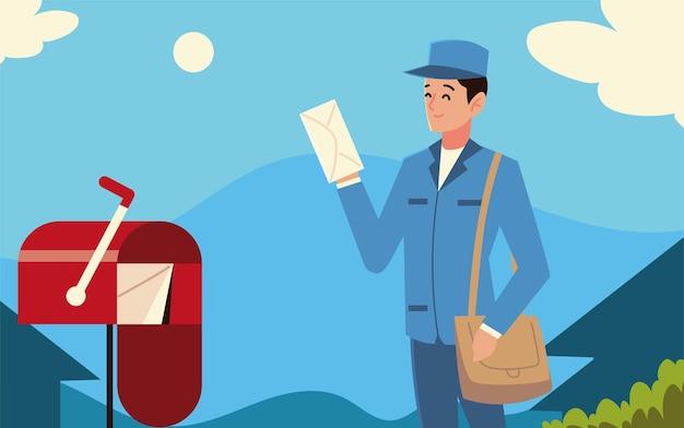 Cartero del servicio postal con sobres de bolsa y buzón en la calle