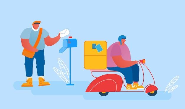 Carteros que envían paquetes y correo a pie y en scooter.