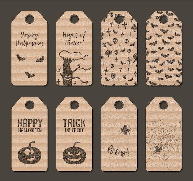 Cartón feliz halloween regalo etiqueta etiqueta conjunto.