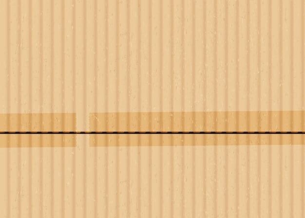 Cartón con fondo de vector realista de cinta adhesiva. ilustración de superficie de cartón corrugado marrón. material de embalaje con trozos de cinta adhesiva. textura de cartón beige