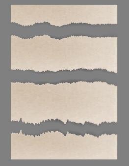 Cartón rasgado rasgado. conjunto de vectores con textura