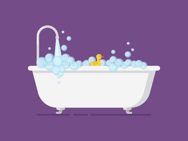 Cartoon bañera llena de espuma con un grifo abierto.
