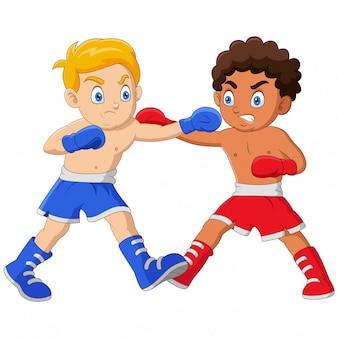 Cartoon boys se están boxeando en un combate