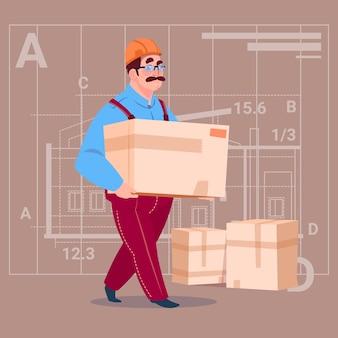 Cartoon builder carry box vistiendo uniforme