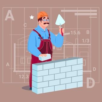 Cartoon builder laying brick wall