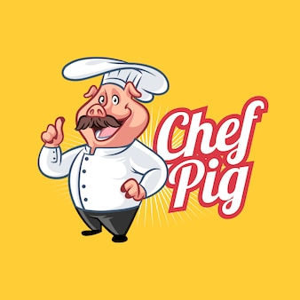 Cartoon chef pig mascot logo