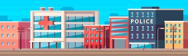 Cartoon city, una calle pública con estación de policía, bomberos y hospital.