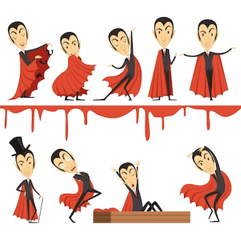Cartoon conde drácula con capa roja.