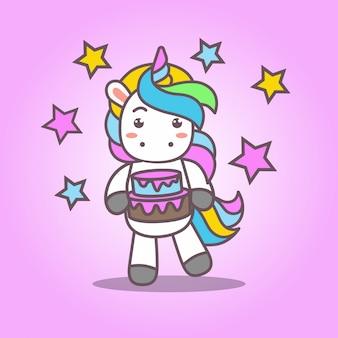 Cartoon_cute kawaii unicorn trae pastel