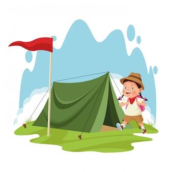 Cartoon explorer girl y tienda de campaña con bandera roja