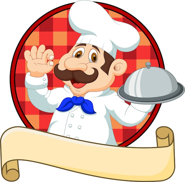 Cartoon funny chef cartoon sosteniendo el plato