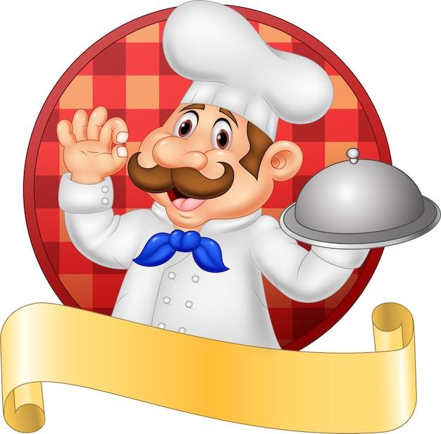 Cartoon funny chef cartoon sosteniendo el plato
