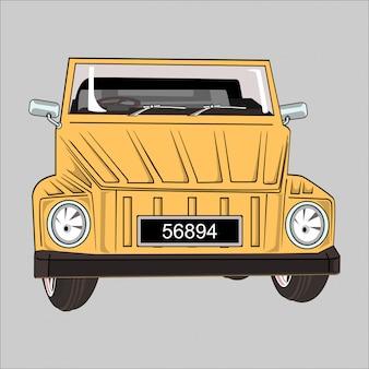 Cartoon ilustración coche vw safari