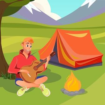 Cartoon man play acoustic guitar sit cerca de bonfire
