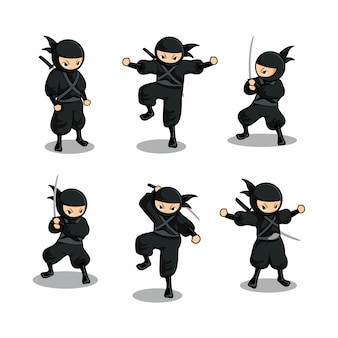 Cartoon ninja negro con seis acciones diferentes