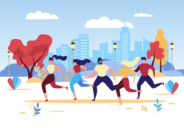 Cartoon people group run park sport competition
