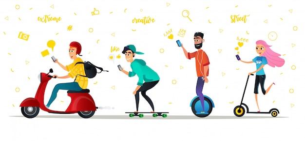 Cartoon people ride eco transport city street