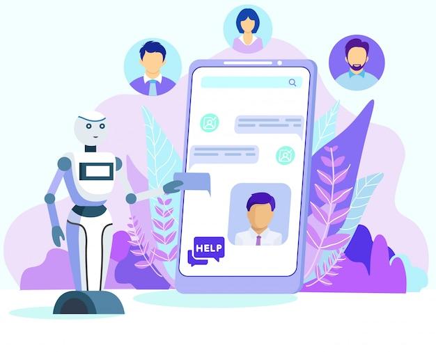 Cartoon robot ayuda al cliente en la pantalla del teléfono móvil