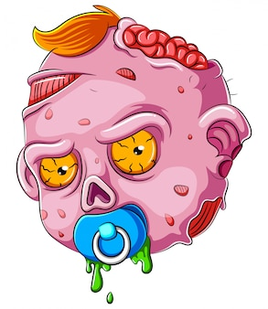 Cartoon scary baby zombie face sobre fondo blanco