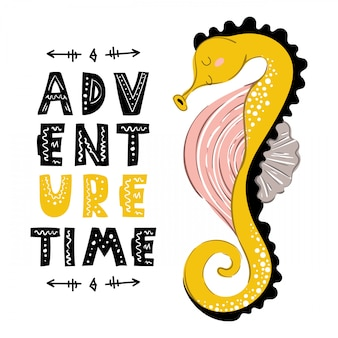 Cartoon seahorse, plantilla de tarjeta