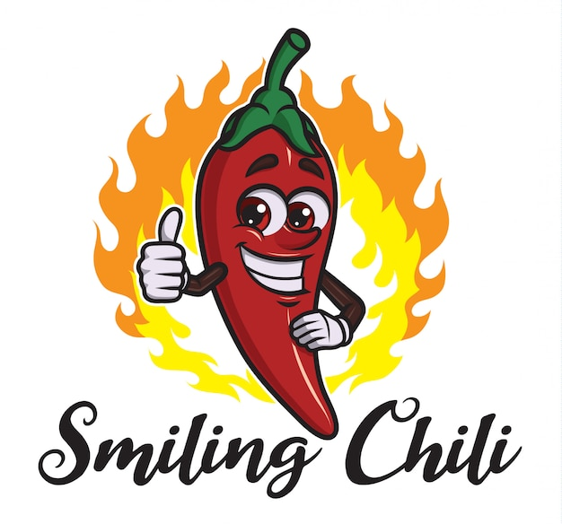 Cartoon smiling chili