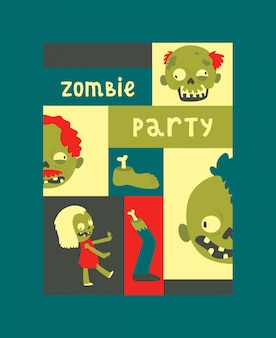 Cartoon zombie pattern halloween scary monster character spooky boy girl illustration backdrop