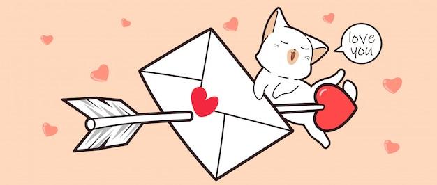 Cas blanco y carta de amor perforada con una flecha de amor