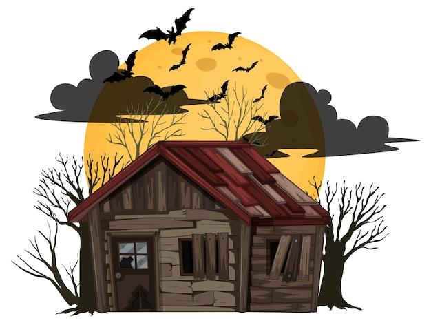 Casa abandonada de halloween aislada
